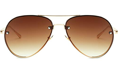 Oversized Aviator Sunglasses Vintage Retro Gold Metal Frame Colorful Lenses 62mm (Polarized Lenses Brown, 62)