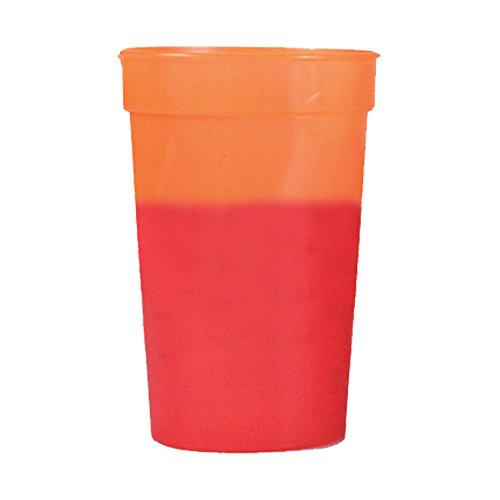 12oz Color Changing Stadium Cup, Set of 12, Orange to Red - Red Stadium Cup