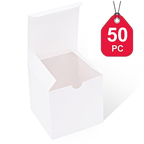 MESHA White Boxes 50 Pack 4 x 4 x 4 Inches, White Paper Gift Boxes with Lids for Gifts, Crafting, Cupcake (Ornament Candle)