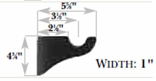 Kirsch Wood Trends Urban Comfort 3 1/2'' Return Bracket for 2'' pole, in Sandblasted Black(MPN# 5503EG800)