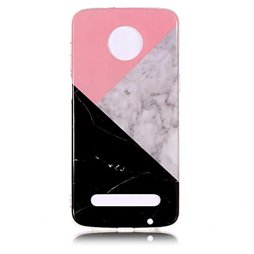 (Moto Z3 Play 2018 Case, Marble Design Bumper TPU Soft Rubber Silicone Cover Phone Case Compatible with Motorola Moto Z3 Play (2018) (Blue Patchwork))