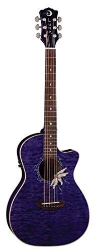 Luna Guitars Flora Passion Flower Quilt Maple Parlor Acoustic-Electric Guitar Transparent Purple
