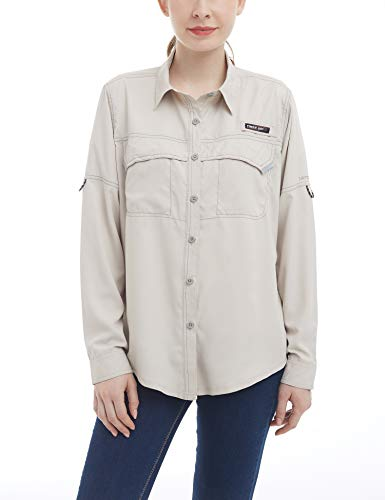 Little Donkey Andy Women's UPF 50+ UV Protection Shirt, Long Sleeve Fishing Shirt, Breathable and Fast Dry Khaki L ()