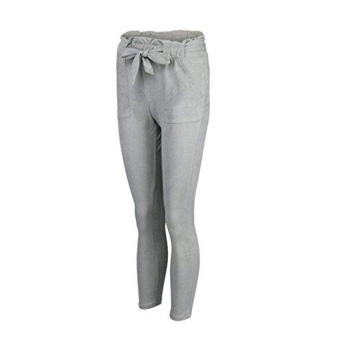 Pantalon Franges Crayon Haute Femmes Unique Grau Taille Loisir Vintage Mode Écrans Élégant Pantalons CfqZZw4