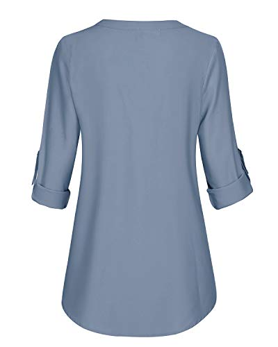 Aliling Business Casual Tops for Women, Ladies 3/4 Cuffed Sleeve V Neck Pleats Fitted Tunic (Blue, Large) by Aliling (Image #2)