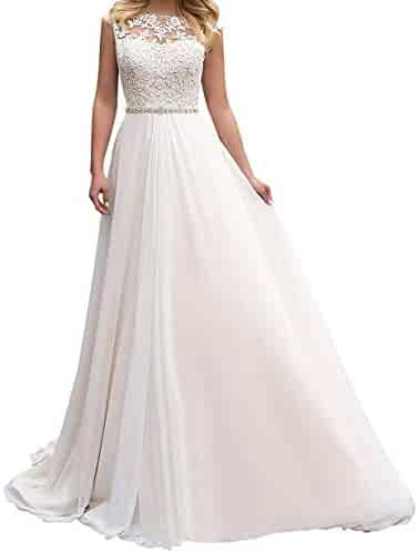 c7644fbe9eb6 Fitty Lell Women's Chiffon Beach Wedding Dresses Lace Applique Bridal Gown  with Beaded Evening Dress