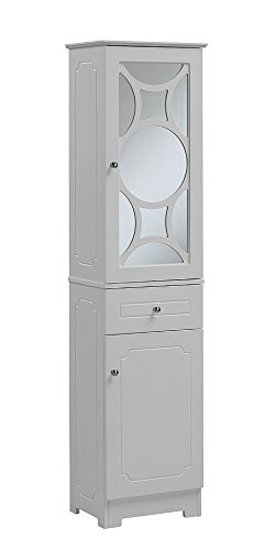 RunFine RFBW12302 Linen Tower, 1 Glass Door with 1 Adjustable Shelf and Chrome Knob (Bathroom Cabinet Tower)