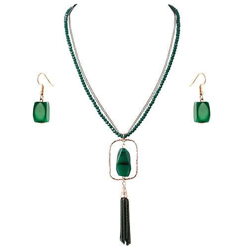 (Lavencious Multi Strands Statement Necklace & Earrings Set with Semi Precious Stone Pendant for Women (Green))
