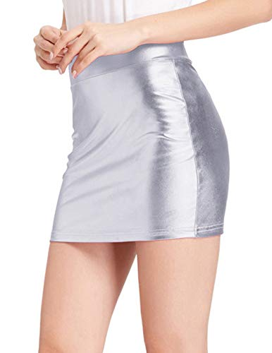 Women Metallic Short Shiny Mini Skirt Night Club Wear, Silver Size XL