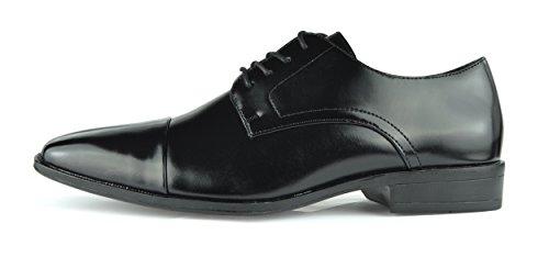 Moda Di Raza Zapatos De Vestir De Encaje Oxford Para Hombres Elegante Luz De Moda Brillo Negro-v
