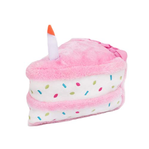 ZippyPaws - Birthday Cake Squeaky Dog Toy with Soft Stuffing - Pink