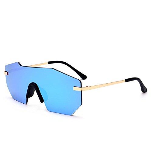 TL UV400 Silver grande Sunglasses de sin Unisex Lentes metálico sol pieza una blue hombre gafas de gafas lens sola herraje qxrxaTAY