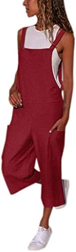SHOPESSA Womens Long Leg Pants Romper with Side Pockets Tank Wide Leg Jumpsuits Gardening Overalls for Women