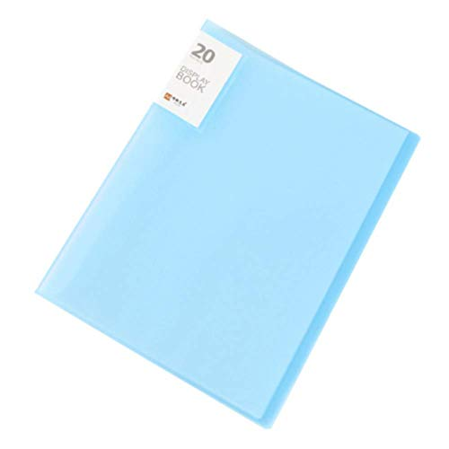 (Tcplyn Premium Quality 20 Pages Transparent Information Booklet Insert Bag Multilayer Folder A7 Plastic Pocket Subject Folder Project Organizer for Document, File-Clear Blue)