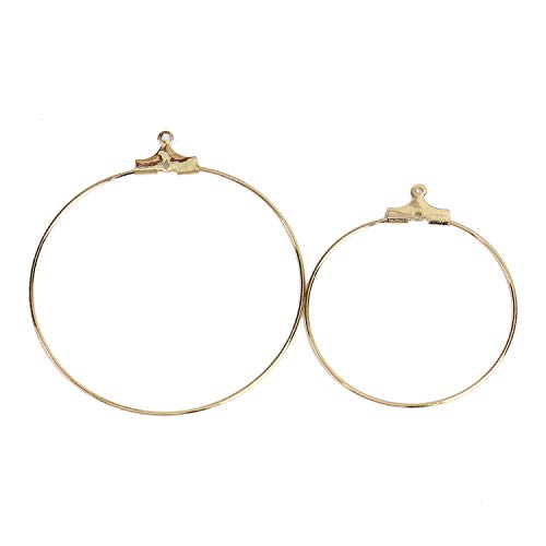Monrocco 40 pcs Gold Beading Hoop Earring Finding for DIY Making Findings