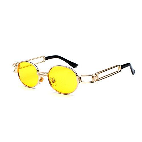 de metal ovales de de Huicai Lentes Gafas los señoras hombres redondas lente de de gafas transparente Gafas sol marco Amarillo de qv7vnzw5
