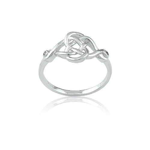Sterling Silver Celtic Figure - Sterling Silver Interlocking Infinity Figure 8 Celtic Design with White Topaz Ring (Size 5) Available in sizes 5 - 6 - 7 - 8 -9