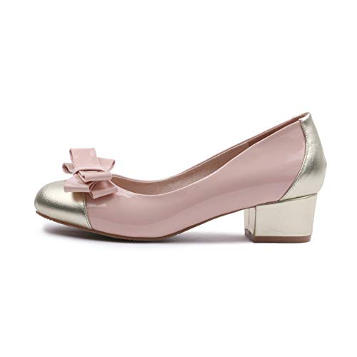 Étanche Talon Chaussures 4Cm Pompes Hauteur Pink Forme Résistant À Femmes Simples Talon Ronde Plate Habillées Noeud Épais Talon Du L'usure Épais Tête Chaussures D'arc qwzZwIB