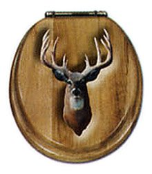 Whitetail Deer Oak Toilet Seat