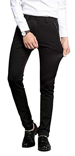 Plaid&Plain Men's Stretch Dress Pants Slim Fit Skinny Suit Pants 7104 Charcoal 27W30L
