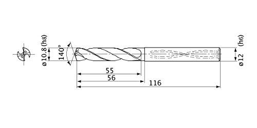 Mitsubishi Materials MVS1080X03S120 MVS Series Solid Carbide Drill 12 mm Shank Dia. 10.8 mm Cutting Dia Internal Coolant 3 mm Hole Depth 2 mm Point Length