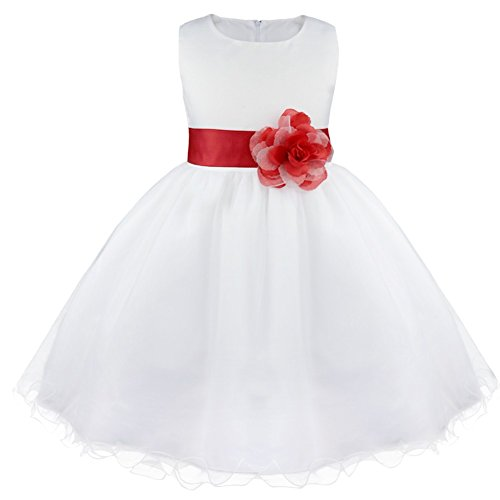 iEFiEL Girls Big Bowknot Rattail Edge Flower Girl Junior Wedding Dress DIY Costume Wear Red 10