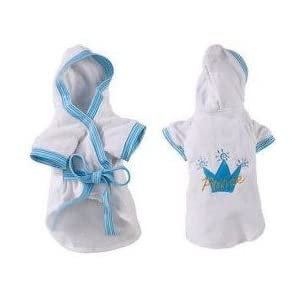 Zack & Zoey Blue Prince Royalty Robe Soft Terry Bathrobe for Medium Dogs