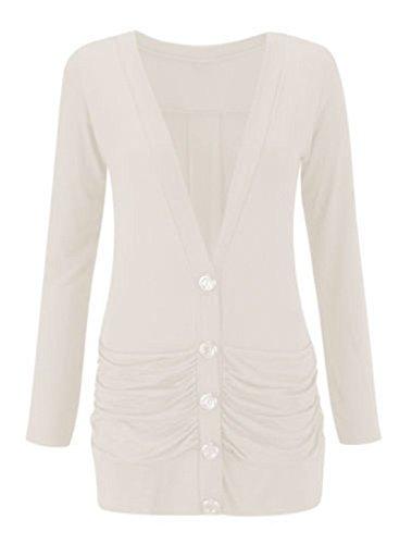 Blanc 54 Ladies Femme manches avant de Womens Rouche EU Cardigan Mesdames bouton V longues Dames Neck 42 taille wqT4Wg