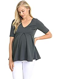 d24e973ee2ff5a Women s Floral and Polka Dot Pleated Peplum V Neck Maternity Top