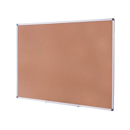 4 THOUGHT Cork Board Bulletin Board 36 x 24 Inches, Cork Notice Pin Board Memo Board with Silver Aluminium Frame for Display and Organize Office or Classroom, 3 x 2 Feet, 10 Push Pins Included
