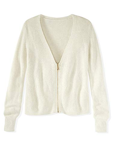 525 America Women's Cotton Shaker Wave Stitch Zip Up Cardigan