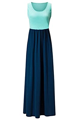 Kranda Womens Contrast Sleeveless Tank Top Empire Maxi Long Dress …