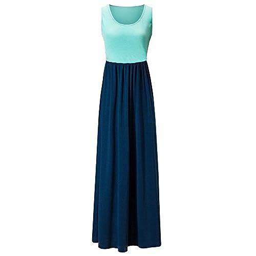 Kranda Womens Contrast Sleeveless Tank Top Empire Maxi Long Dress (Medium,  Mint Navy)