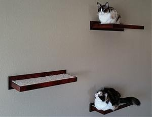 Wooden Cat Perch Shelf Floating Wall Mount Amish Made -