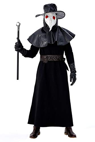 Mens Medieval Plague Doctor Priest Costume Steampunk Gothic