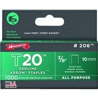 "Arrow Fastener 206 3/8"" T20 Staples"