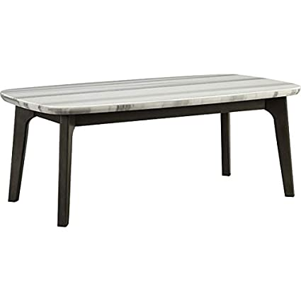 Amazoncom Acme Calvisia 48 Marble Top Coffee Table In Gray Oak