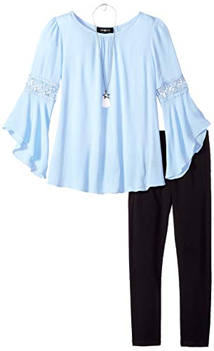 Amy Byer Girls' Big Bell Sleeve Top and Leggings 2-Piece Set with Necklace, Chambray Blue -