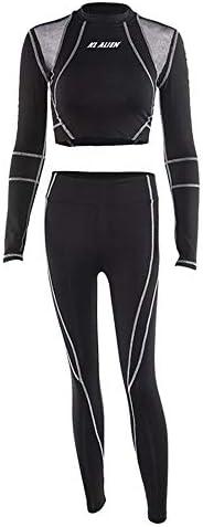 レディースジャージ上下セット 女性のスポーツのヨガのフィットネスは、黒プリントメッシュの視点長袖セットを着用します (サイズ : M)