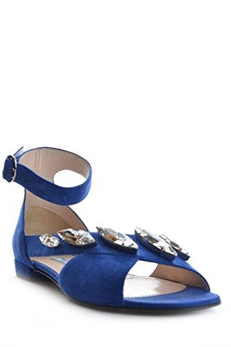 Prada Mujer MCBI244041O Azul Gamuza Sandalias