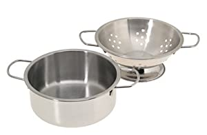 11 Piece Stainless Steel Cookware Set - Pots, Pans, Lids, Strainer & Utensils