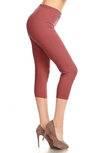 Leggings Depot Buttery Soft Basic Solid 36+ Colors Women's Capri Leggings (Plus Size (Size 12-24), Marsala)