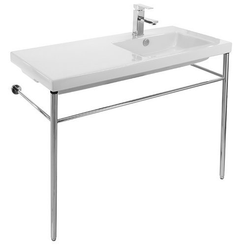 Tecla CO02011-CON-One Hole Condal Rectangular Ceramic Console Sink and Polished Chrome Stand, White ()