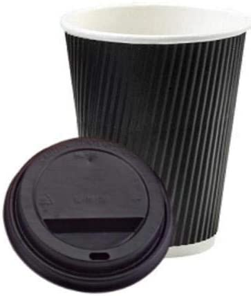 We Can Source It 1000 x 8oz Black Ripple Disposable Hot