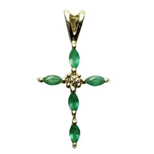 (14K Yellow gold Emerald and Diamond Cross shaped Pendant )