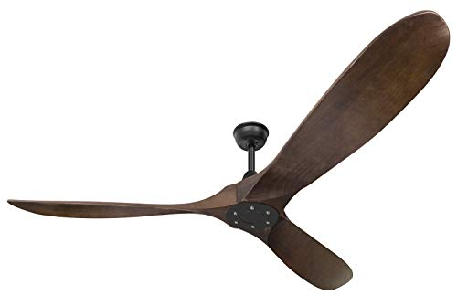 Oil Rubbed Bronze Wood Blade - Goozegg 60-Inches Ceiling Fan with Remote, DC Motor Matte Black with Oil Rubbed Bronze Sycamore Wood Blades
