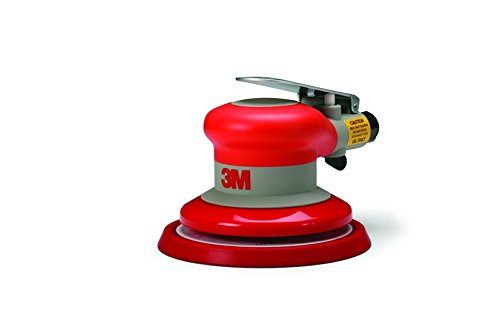 The rubber grip mounted on top of the air sander is a notable feature designed to enhance comfort.
