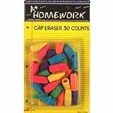 A+ Homework Assorted Colors Eraser Cap, 30 Pack (UC1230)