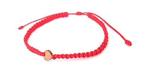 Lucky Charms USA Red String Macrame Bracelet with Bronze-tone Heart Charm ()
