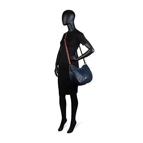 96370 Bolsillo Bolso Bandolera Cierre Mujer Cremallera Lois para Exterior Color Polipiel Marron detrás con Ajustable Marino Piel sintética dzEg5wwq